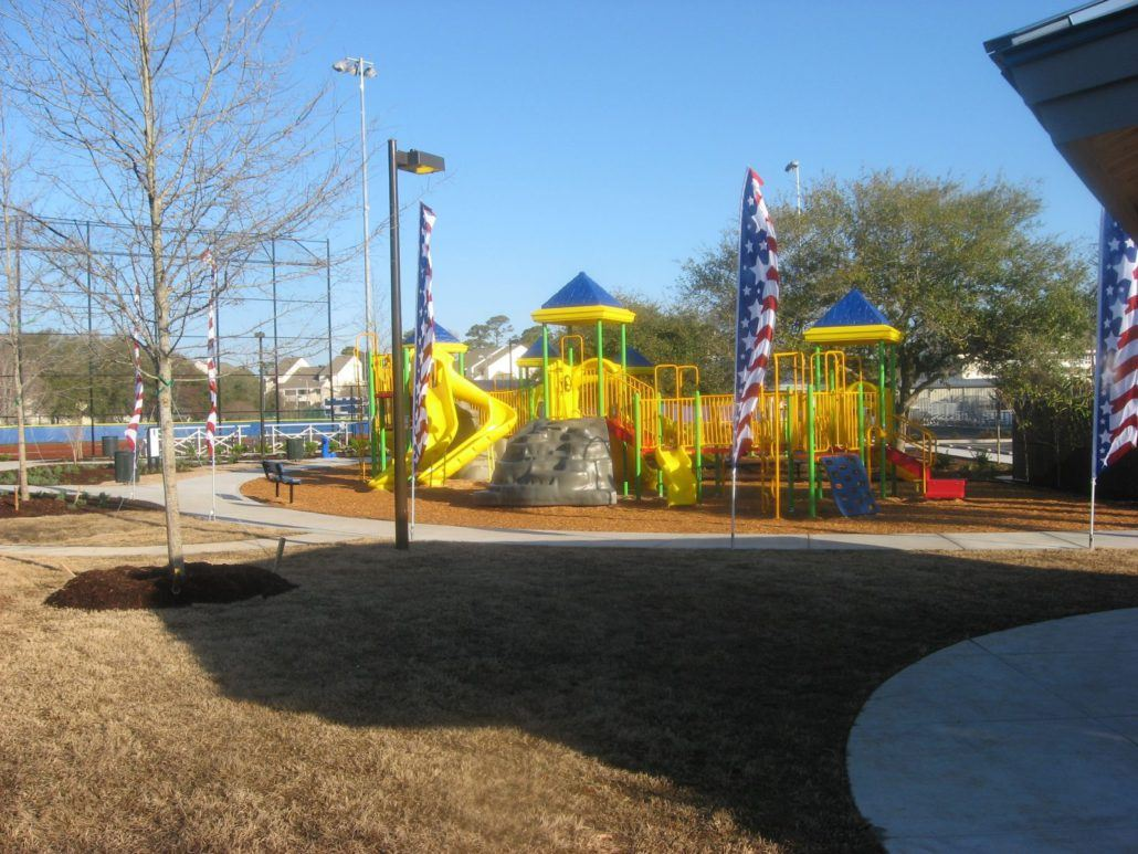 Playground Surrounded by American Flags