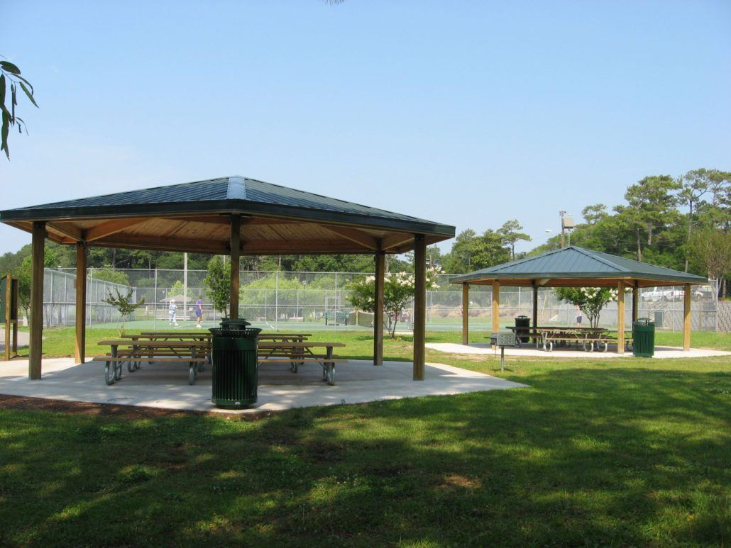 Two Gazebos with Tables Underneath
